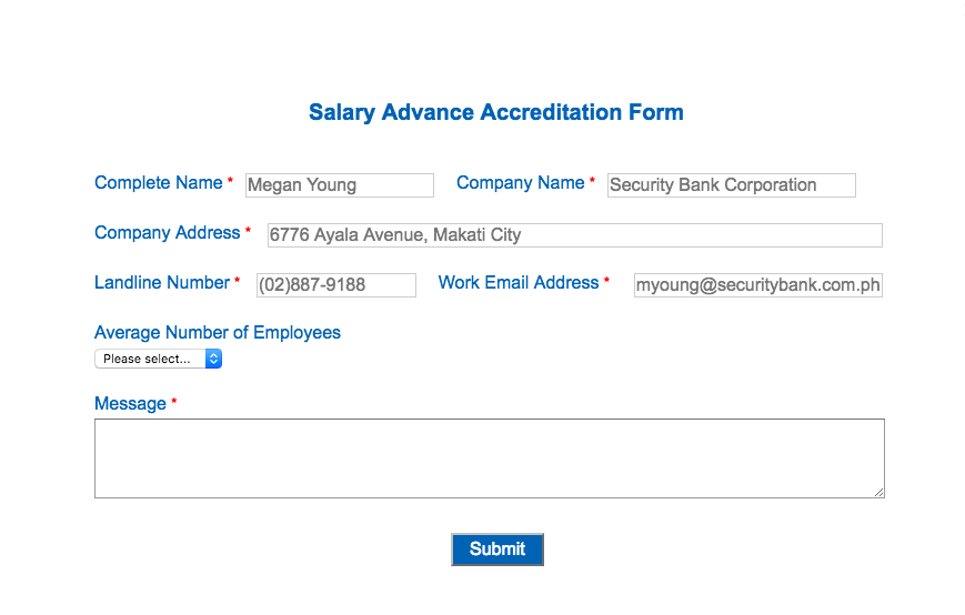 For Companies Who Wish To Be Accredited By Security Bank You Can Submit The Salary Advance Accreditation Form And Other Documents Such As